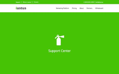 Screenshot of Support Page iust.us - Iustus | Marketing Platform Support Center - captured Nov. 3, 2014