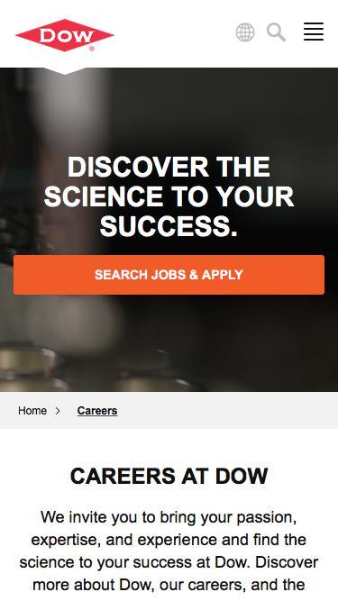 Screenshot of Jobs Page  dow.com - Careers   Dow