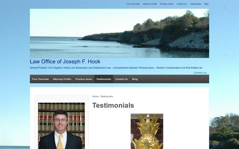 Screenshot of Testimonials Page wordpress.com - Testimonials | Law Office of Joseph F. Hook - captured Sept. 12, 2014