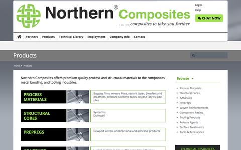 Screenshot of Products Page northerncomposites.com - Products - captured Sept. 20, 2018