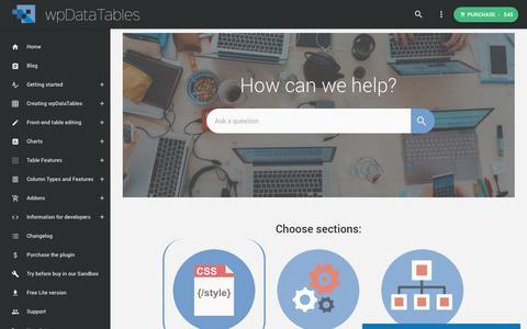 Screenshot of FAQ Page wpdatatables.com - FAQ - wpDataTables Tables and Charts WordPress Plugin - captured Oct. 15, 2018