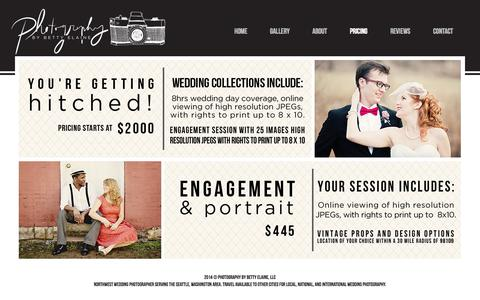 Screenshot of Pricing Page bettyelainephotography.com - Seattle Wedding Photography | Photography by Betty Elaine - Pricing - captured Oct. 5, 2014