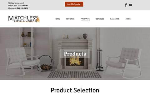 Screenshot of Products Page matchless.info - Products   Ventless Gas Fireplace in Troy, Albany & Clifton Park, NY   Matchless Stove & Chimney - captured Oct. 31, 2018
