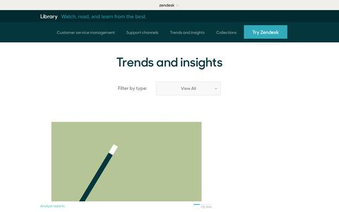 Screenshot of Support Page zendesk.com - Trends and insights | Zendesk Library - captured Aug. 5, 2018