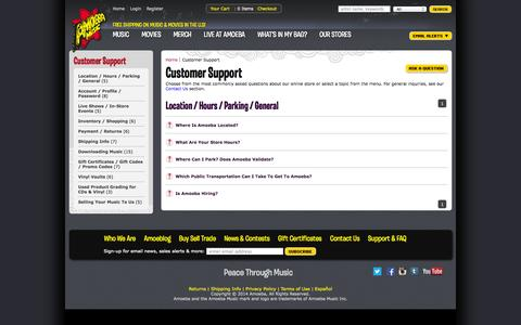 Screenshot of Support Page amoeba.com - Amoeba Music - Customer Support - captured Sept. 19, 2014
