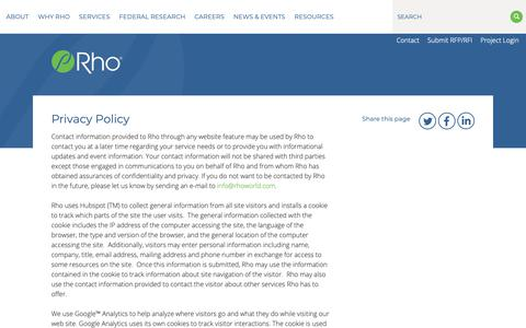 Screenshot of Privacy Page rhoworld.com - Privacy Policy | Rho - captured June 10, 2019