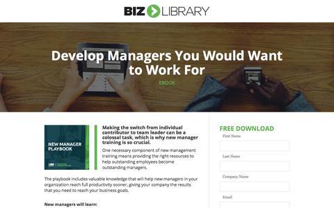 Screenshot of Landing Page bizlibrary.com - New Manager Playbook [eBook] - captured April 21, 2018