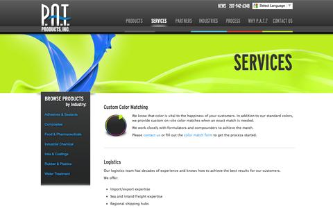 Screenshot of Services Page patproducts.com - PAT Products | Services  - PAT Products - captured Sept. 26, 2014