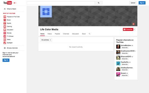 Screenshot of YouTube Page youtube.com - Life Color Media  - YouTube - captured Oct. 27, 2014