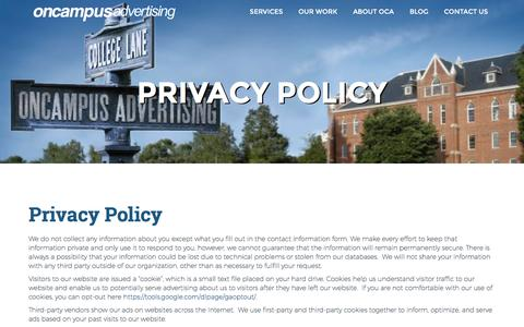 Screenshot of Privacy Page oncampusadvertising.com - Privacy Policy - OnCampus Advertising   OnCampus Advertising - captured Dec. 19, 2016