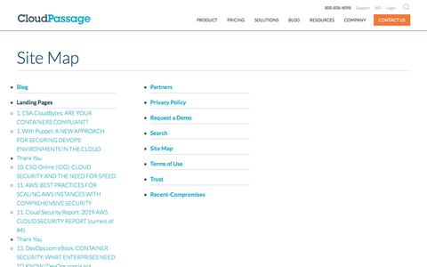 Screenshot of Site Map Page cloudpassage.com - Site Map, Links, Easy Navigation. Find What You Need. - captured Feb. 20, 2020