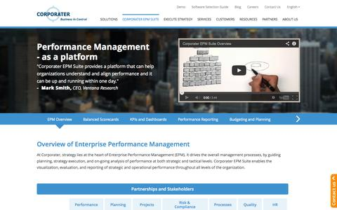 Screenshot of Products Page corporater.com - Enterprise Performance Management Software Solution, Corporater EPM Suite - captured Sept. 22, 2014