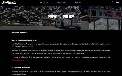 Screenshot of Privacy Page vittoria.com - Privacy Policy | Vittoria Bicycles Tires & Wheels - vittoria.com - captured Dec. 12, 2018