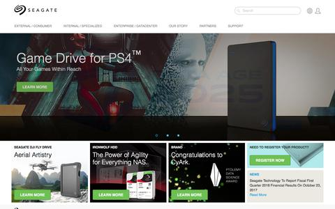 Screenshot of Home Page seagate.com - Seagate - Storing the world's digital content | Seagate - captured Oct. 16, 2017