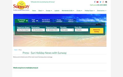 Screenshot of Press Page sunway.ie - Press Releases and Latest Sun Holiday News from Sunway Holidays - captured Oct. 1, 2018