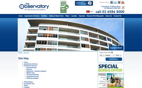 Screenshot of Site Map Page observatory.net.au - Site Map - The Observatory, Port Macquarie Accommodation - captured Oct. 26, 2014
