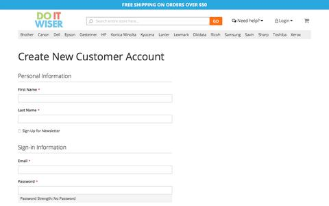 Screenshot of Signup Page doitwiser.com - Create New Customer Account - captured Oct. 12, 2017