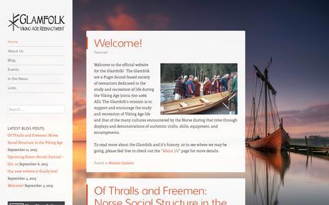 Screenshot of Home Page glamfolk.com - The Glamfolk   Viking Age Reenactment - captured Sept. 19, 2015