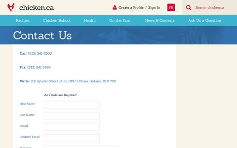 Screenshot of Contact Page chicken.ca - Contact Us » Chicken.ca - captured Sept. 23, 2018