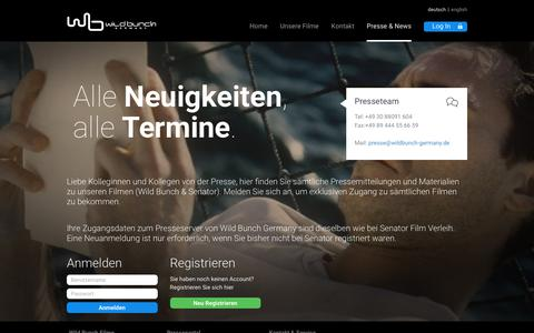 Screenshot of Press Page wildbunch-germany.de - Wild Bunch Presse - captured March 11, 2016