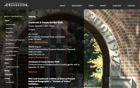 Screenshot of Press Page cranbrook.edu - News | Cranbrook - captured Sept. 25, 2014