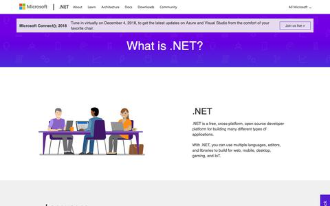 Screenshot of About Page microsoft.com - What is .NET? - captured Nov. 19, 2018