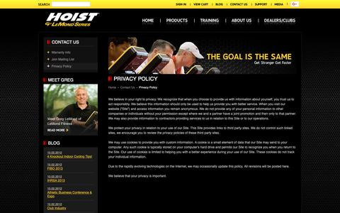 Screenshot of Privacy Page lemondfitness.com - LeMond powered by HOIST Fitness | Contact Us | Privacy Policy - captured Oct. 19, 2018