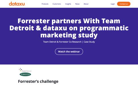 Screenshot of Team Page dataxu.com - Forrester Study Makes Programmatic Insights with Team Detroit - captured Nov. 18, 2019