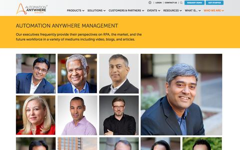 Screenshot of Team Page automationanywhere.com - Management Team | Automation Anywhere - captured Sept. 20, 2019