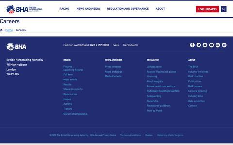 Screenshot of Jobs Page britishhorseracing.com - Careers - The British Horseracing Authority - captured Sept. 23, 2018