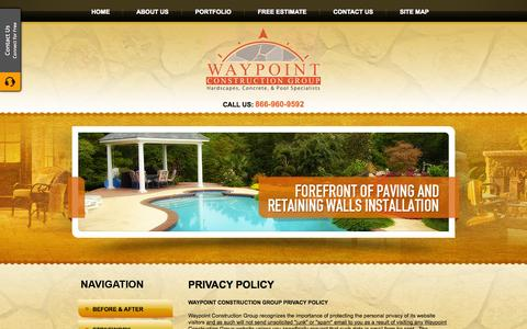 Screenshot of Privacy Page waypointconstruction.com - Privacy Policy, Waypoint Construction Group Gainesville, Georgia, GA - captured Oct. 6, 2014