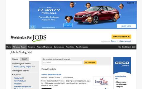 Screenshot of Jobs Page washingtonpost.com - Jobs in Springfield - captured Feb. 14, 2017