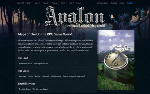 Screenshot of Maps & Directions Page avalon-rpg.com - Maps of The Online RPG Game World | Text Based Games - captured Feb. 6, 2016