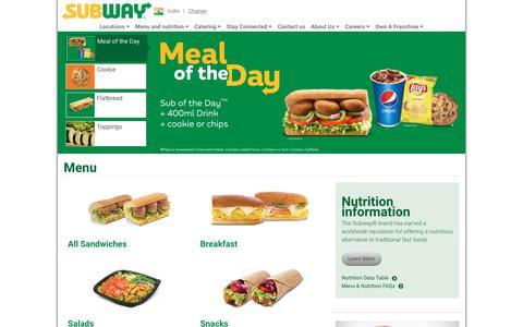Screenshot of Menu Page subway.com - Menu | SUBWAY.com - India (English) - captured Sept. 22, 2018