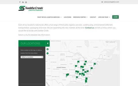 Screenshot of Locations Page sclogistics.com - Our Strategic 3PL Locations - Saddle Creek Logistics - captured Oct. 5, 2016