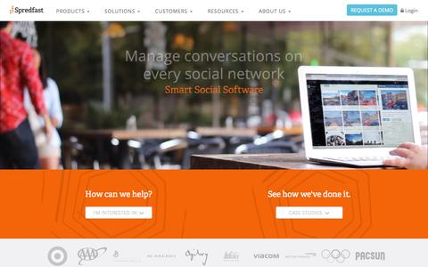 Screenshot of Home Page spredfast.com - Social Media Experience Management Software Platform | Spredfast - captured Oct. 7, 2015
