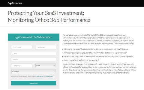 Screenshot of Landing Page extrahop.com - Protecting Your SaaS Investment: Monitoring Office 365 Performance - captured July 27, 2018