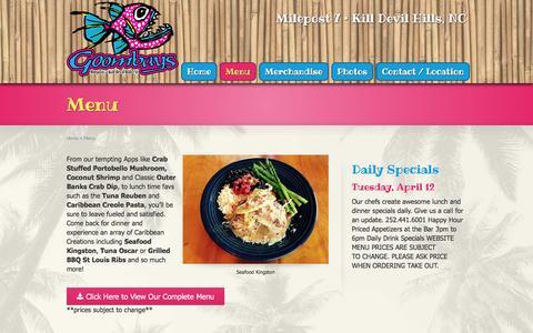 Screenshot of Menu Page goombays.com - Menu - Goombays Restaurant - captured June 20, 2016