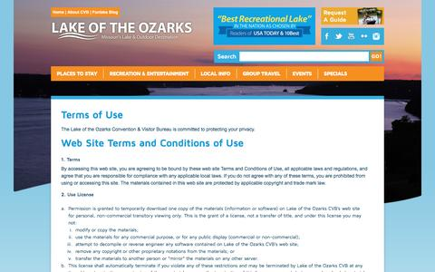 Screenshot of Terms Page funlake.com - Lake of the Ozarks - Terms of Use - captured Oct. 15, 2016