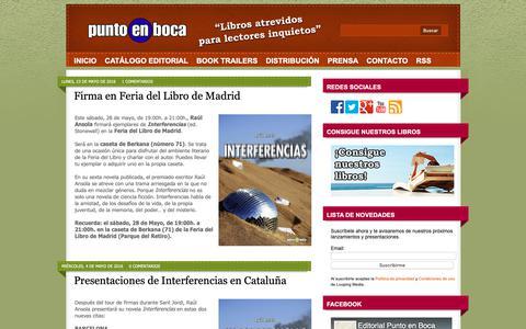 Screenshot of Home Page puntoenboca.com - Editorial Punto en Boca - captured Sept. 27, 2018