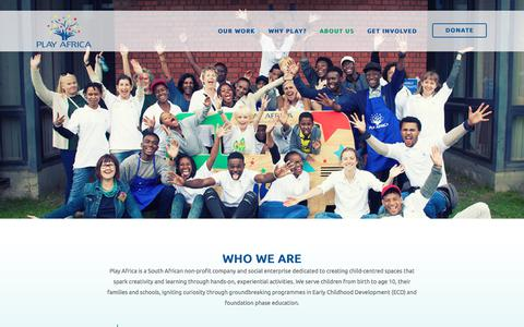 Screenshot of About Page playafrica.org.za - About us - Play Africa - captured Jan. 26, 2018