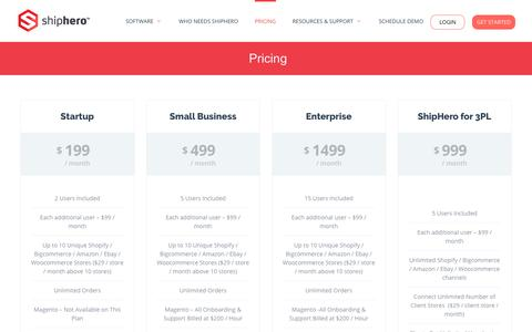 Screenshot of Pricing Page shiphero.com - Shiphero Ecommerce Warehouse Management System, Mobile Shipping & Inventory | - captured June 19, 2017