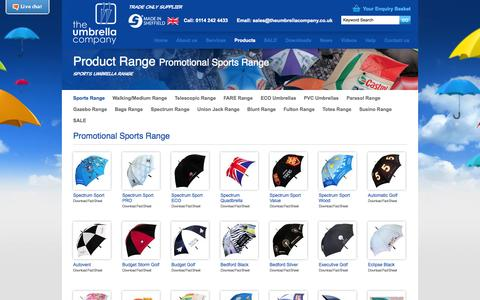 Screenshot of Products Page theumbrellacompany.co.uk - Promotional  Sports Range | The Umbrella Company - captured Sept. 30, 2014