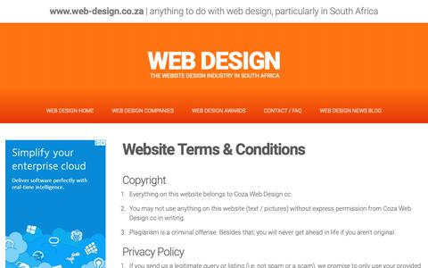 Screenshot of Terms Page web-design.co.za - Terms - captured Oct. 2, 2018
