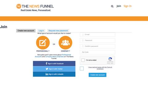 Screenshot of Signup Page thenewsfunnel.com - Join | The News Funnel - captured Jan. 20, 2016