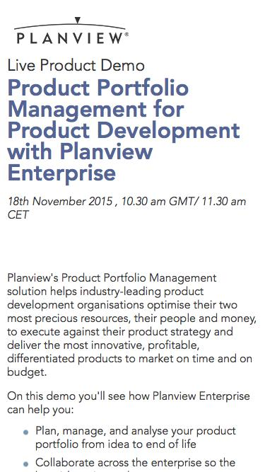 Planview Live Product Demo   Product Portfolio Management for Product Development with Planview Enterprise