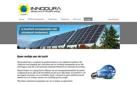 Screenshot of Contact Page innodura.nl - Start - captured Oct. 29, 2014