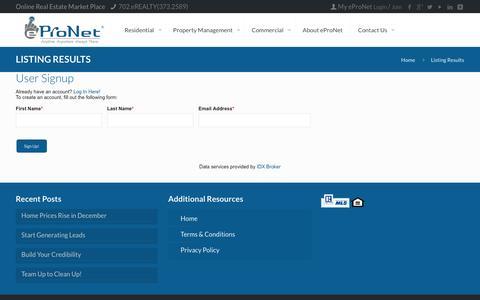 Screenshot of Signup Page epronet360.com - Listing Results | eProNet - captured Nov. 15, 2016