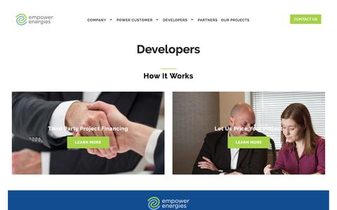 Screenshot of Developers Page empowerenergies.com - Developers | Empower Energies - captured Aug. 7, 2017