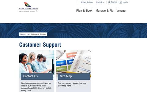 Screenshot of Support Page flysaa.com - Customer Support - South African Airways - captured April 3, 2017